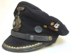 Reproduction German U-Boat Submarine Blue Topped Peaked cap with 70+ years of ageing and numerous dark & worn and tarnished areas as worn by Obersteuermann Schubert of U-453. This cap is based on an original in the Deutsches U-Boot Museum - Germany. www.warhats.com