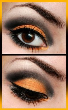 Orange & black eye make-up