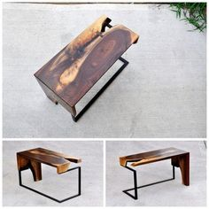 Various essences of wood combined with wood or steel legs to make unique side tables