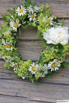 kranssi,kesä,ovikoriste,tuoreet kukat ja yrtit