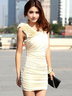 Fashion Stylish V-Neck Draped Slim Hip Dress Beige - BuyTrends.com
