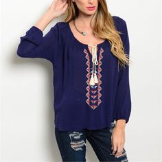 Boho gorgeous! stunning navy blouse! Pretty design in front with a tie front and hi lo style - this will blow you away!! Tops Blouses