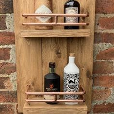 Wooden Garden Wall Bar With Copper Pipe | Etsy Copper Pipe Shelves, Bespoke, Garden Bar, Garden Ideas, Diy Outdoor Bar, Wine Barrel Furniture, Gin Bar, Bar Plans, Serving Table