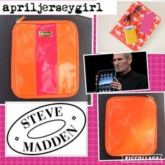 """STEVE MADDEN--Retro I Pad Holder NEW! Awesome retro iPad holder. Has 4 way holder inside ; 2 tops elastic, and 2 bottom fit it strap..( holds in place better. Orange and hot pink. Measures : 11""""L X 9 1/2"""" ...inside 10 L X 8 1/2"""" W approx. This is brand new, still has the plastic tag. Although it is BN, it has a small small stain on inside were the iPad sits. Not noticeable at all when iPad in in. Add a pop of COLOR to your wardrobe carrying this beauty... Ty Steve Madden Accessories Tablet…"""