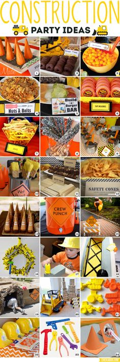 Construction party ideas: Food, decor, games and favors! Construction party ideas: Food, decor, games and favors Construction Birthday Parties, 4th Birthday Parties, Birthday Fun, Construction Party Games, 1st Birthday Boy Themes, Birthday Decorations, Construction Cakes, 3 Year Old Birthday Party Boy, Digger Birthday
