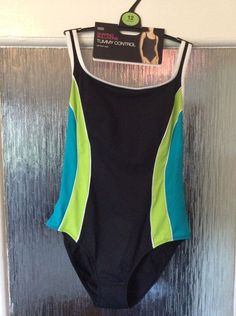 M&S SHAPING SOLUTION TUMMY CONTROL Swimsuit UK12 padded BNWT RRP£25 Lime mix