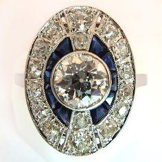 Bague ancienne platine diamants 1139 - Epoque 1925
