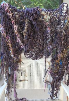 Hand Knit Shawl Beautiful eggplant and multi color by bpenatzer, $178.00