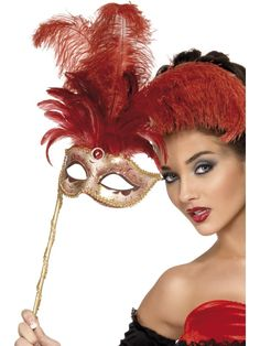 Stunning hand held eyemask with feathers
