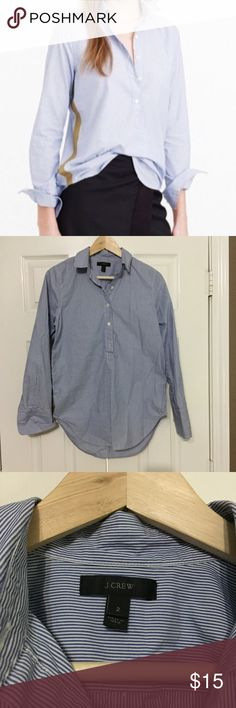 J Crew Pop Over Shirt Cotton pop over blue striped shirt with gold stripe along sides. J. Crew Tops Button Down Shirts