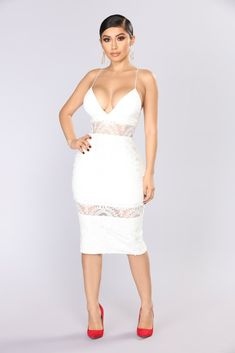 Keep Up With My Vibe Midi Dress - White