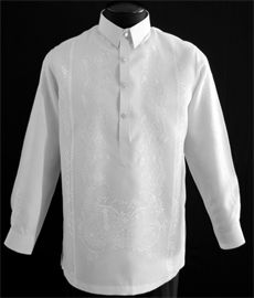 DETAILS: A handsome Raya Tagalog put this white dress shirt a cut above the rest that gives this high-grade Jusi fabric Barong a sophisticated Barong Tagalog Wedding, Filipiniana Dress, Philippines Fashion, Line Shopping, Mandarin Collar, Tunic Tops, Dress Shirt, Suits, Stylish