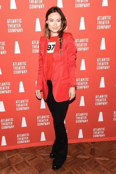 2016 Atlantic Theater Company Actors' Choice Gala, New York - March 7 2016 Olivia Wilde wearing Bella Freud sweater.
