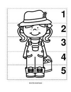 Number Sequence Preschool B&W Picture Puzzle - Farmer from Worksheet Teacher Kids Learning Activities, Preschool Worksheets, Preschool Activities, Community Helpers Lesson Plan, Helper Jobs, Body Parts Preschool, Prewriting Skills, Pre K Curriculum, Classroom Rules Poster
