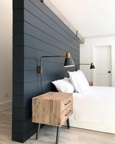 Adding these new nightstands and wall-mounted reading light fixtures to our mast. - Home Decor - Bedding Master Bedroom Bedding Master Bedroom, Master Bedroom Makeover, Home Bedroom, Bedroom Wall, Bedroom Inspo, Wall Mounted Lights Bedroom, Wall Mounted Reading Lights, Bed Reading Light, Bedroom Reading Lights