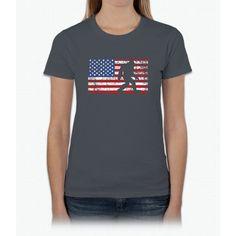 American Flag Bigfoot T-Shirt, Funny 4th of July Sasquatch Womens T-Shirt