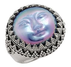 Silver by Sajen Sterling Silver Opalized Goddess Face Ring