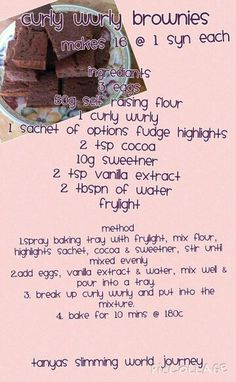 If you are looking for quick slimming world recipes for taster night then these ideas could come in handy. Wow your group with curly wurly brownies at only 1 syn each or even a banana flapjack! Slimming World Brownies, Slimming World Deserts, Slimming World Puddings, Slimming World Tips, Slimming World Recipes Syn Free, Curly Wurly Brownies Slimming World, Slimming World Taster Ideas, Laura Lee, Syn Free Food