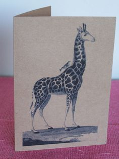 """Giraffe with Bird Note Card printed on Recycled Brown Bag Cardstock with matching envelope 5 x 7""""  from fathersdaughterstudio on Etsy"""