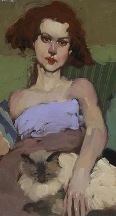 Milt Kobayashi, Feline Eyes (Óleo sobre lienzo)