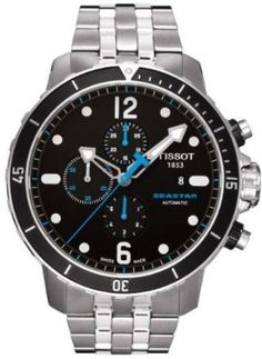 Tissot Seastar 1000 Automatic Chronograph Feature Date Function See Through Case Back Black Dial Blue Accents Black Rubber Strap Tang Buckle Stainless Steel Mens Watch Stylish Watches, Luxury Watches For Men, Cool Watches, Rolex Watches, Amazing Watches, Unique Watches, Dream Watches, Wrist Watches, Stainless Steel Bracelet