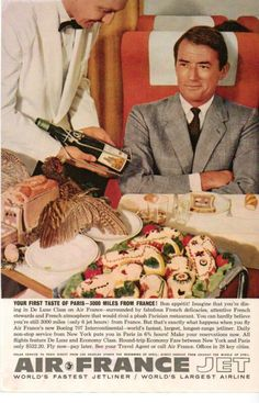 Air France Gregory Peck vintage advert