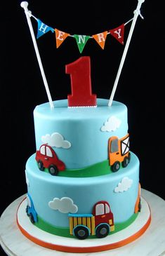 Cars themed Birthday Cake. First Birthday Cake with cars theme.