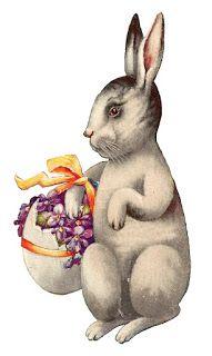 Antique Images: Free Easter Clip Art: Vintage Easter Bunny Carrying Egg Basket on Postcard