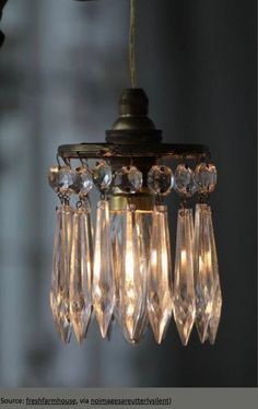 Shabby chic hanging lamp with crystals Mason Jar Sconce Diy, Chandelier Lamp, Chandelier Lighting, Lights, Beautiful Lighting, Vintage Lighting, Chandelier, Diy Chandelier, Diy Lighting