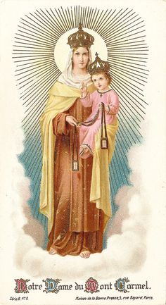 vintage illustration of Our Lady of Mt. Carmel presenting the Brown Scapular