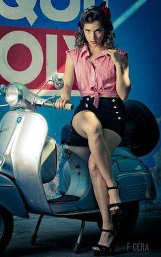 Vintage Vespa Girl