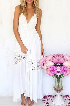 White Backless Halter Stitching Lace Beach Dress from mobile - US$17.95 -YOINS