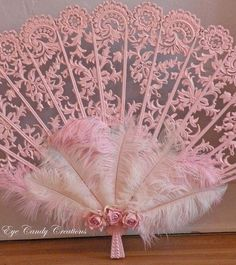 Pink lace fan by Eye Candy Creations Antique Fans, Vintage Fans, Pink Love, Pretty In Pink, Hand Held Fan, Hand Fans, Fan Decoration, Decorations, Everything Pink