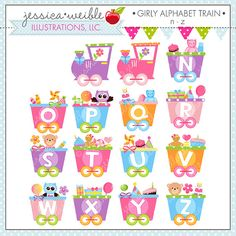Girly Alphabet Train N-Z Cute Digital Clipart by JWIllustrations