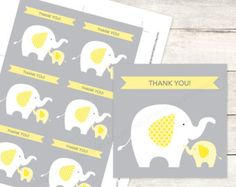 gray yellow baby elephant shower favors - Google Search