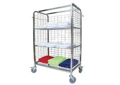 LINEN DISTRIBUTION TROLLEY - Side hanging rails - Fold straight from dryer onto trolley for efficient delivery - Designed to roll straight into linen closets - Alleviates double handling - Large Rubber Wheels lockable) - x x