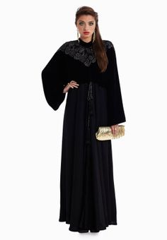 Kiah By Sj Abayas  abaya with lace applique on bodice and belt, available via www.namshi.com