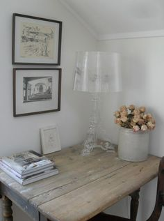 Kartell Bourgie lamp and wood - such a match