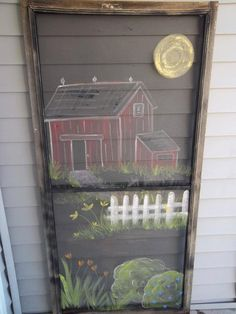 Barn Farm Flowers I Painted on Vintage Screen by ipaintstuff on Etsy, $45.00