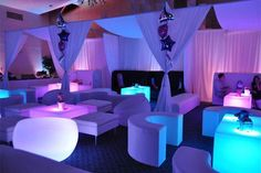 Moon and star party decorations with pipe and drape Glow Party, Disco Party, Wedding After Party, Wedding Reception, Wedding Columns, Bar Deco, Nightclub Design, White Lounge, Lounge Party