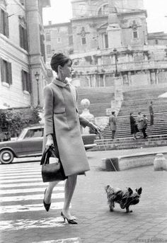 Audrey and her little friend at Piazza D'Espagna