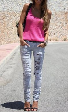 2009 Bored with the old skinny jean look, designers began adding this distressed look to their jeans. Now, these pants are never second guessed however when they first appeared they were reserved for the most rebellious of people.