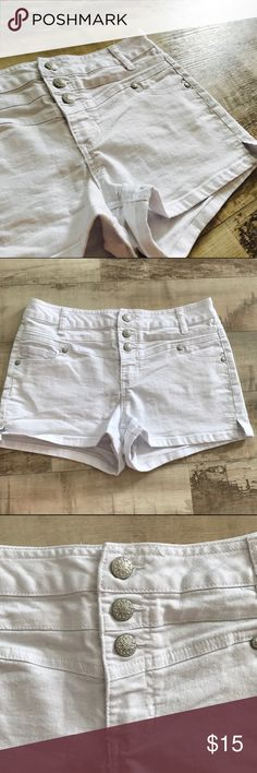 High Waisted Super Stretch Shorts High-waisted super stretch shorts from Rue 21! They are a crisp white, denim material, in nearly perfect condition, and have no snags, rips or stains. They are so super comfortable and like new! Rue 21 Shorts Jean Shorts