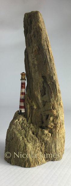 Driftwood Art. Spur Rock Lighthouse by StickyourneckoutShop