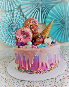 Amazing Picture of Birthday Cake Ice Cream Birthday Cake Ice Cream Make This Fun And Whimsical Salted Caramel Ice Cream Cake Recipe At Girly Birthday Cakes, Ice Cream Birthday Cake, Homemade Birthday Cakes, Homemade Cakes, Birthday Ideas, Birthday Decorations, Birthday Cake For Women Simple, Birthday Cakes Girls Kids, Donut Birthday Cakes