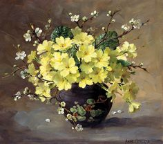 Buy the beautiful flower paintings, Flower Cards and Prints of Anne Cotterill - published by Mill House Fine Art Publishing Ltd Art Floral, Flower Vases, Flower Art, Illustration Blume, Still Life Flowers, Still Life Oil Painting, Oil Painting Flowers, Wow Art, Still Life Art