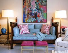 In Courtney Haas's living room, an antique mahogany daybed is flanked by a pair of floor lamps from Downtown. Throw pillows covered in Pali from Manuel Canovas. Painting over daybed by Robert Frame. Design: Joe Nye. Rooms Decoration, Room Decor, Antique Daybed, Interior Exterior, Interior Design, Living Room Turquoise, Funky Home Decor, Condo Decorating, Decorating Ideas