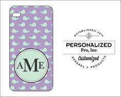 Lavender & Jade Whale Design w/Monogram by PersonalizedPro