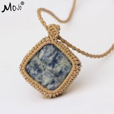 Sodalite Agate Pendant Handmade Fashion Ethnic Boho Tibetan Jewelry Pendant Necklace Chokers Necklaces for Women MJ-STN016