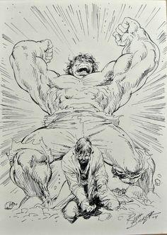 Rich Buckler Incredible Hulk transformation commission Comic Art